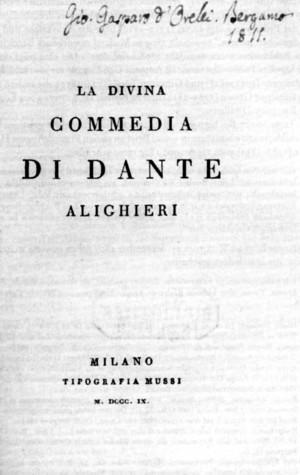 Divina Commedia acquistata da Orelli nel 1811